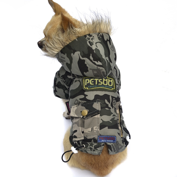 Cotton Camo Padded Dog Jacket