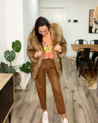 PE Nation Eastrbook Sweat with Unreal Fur Fascination Jacket and Ginger and Smart Collective Leather Jogger Pants