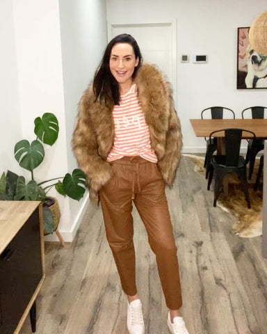 Unreal Fur Fascination Jacket with Apero Brillante Tee and Ginger and Smart Collective Leather Jogger Pants