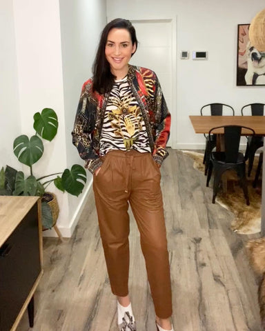 Camilla London Calling Bomber with Camilla Rainbow Room Tee and Ginger and Smart Collective Leather Jogger Pant