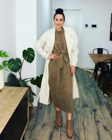 Ginger and Smart Horizon Trench Coat over Andean Collective Elisa Knit Dress