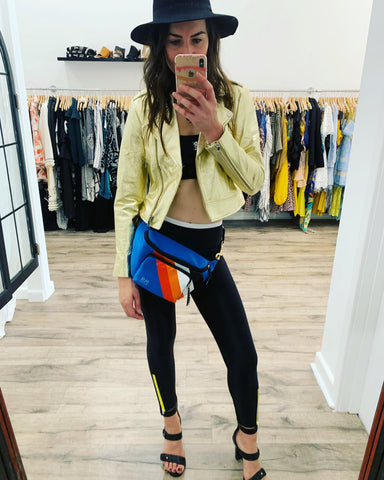 PE Nation leggings and crop with heels and leather jacket