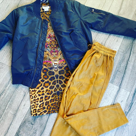 2ndskin Gemma Leather Jogger Pant in Toffee