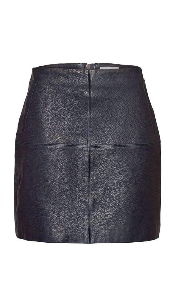 Elka Collective Zurich Leather Skirt NAVY - Miko + Mollie