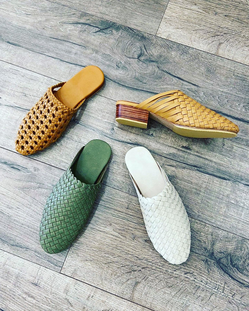 The Bali Artisan Collection Handwoven Leather Slide CREAM