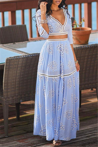 ladies pale blue cotton crop top and maxi skirt