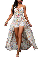White floral print romper suit and maxi dress combination