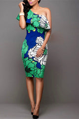 Blue and green camelia flower print one shoulder midi dress