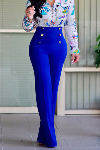 royal blue high waist ladies pants wide leg trousers