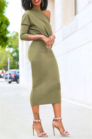 taupe brown khaki off the shoulder midi length dress workwear