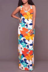 Sleevless White Blue and Orange Tropical Flower Maxi Dress
