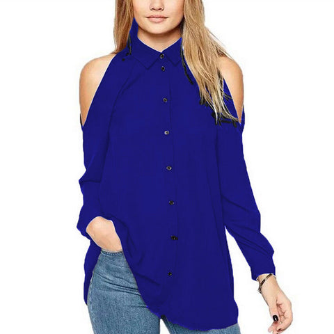 ladies cold shoulder bkue cut our flared shirt