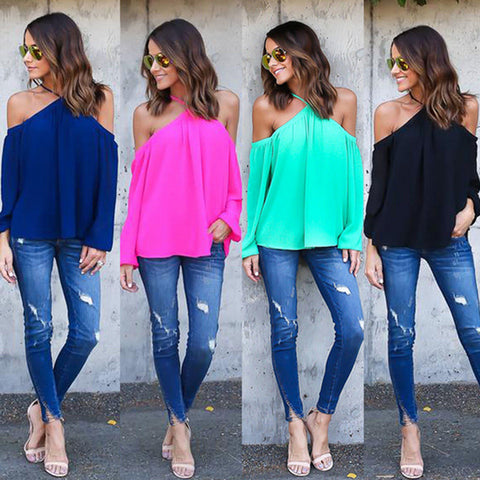 Ladies cold shoulder halterneck swing tunic top