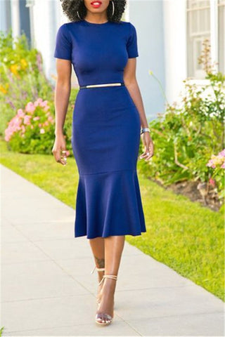 blue short sleeve frill hem midi length dress workwear