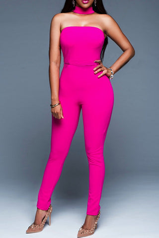 ladies off the shoulder hot pink all-in-one bodycon jumpsuit