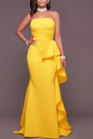 canary yellow strapless evening gown dress
