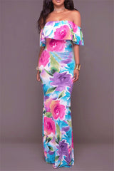 Watercolor Rose Strapless Off Shoulder Floral Print Maxi Dress