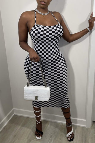 Checkerboard Print Criss Cross Back Midi Dress, whatwears  - buy with discount