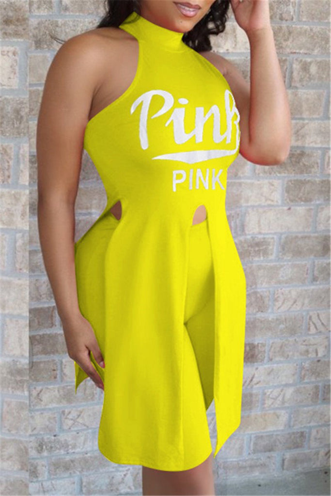 Letter Print Sleeveless Slit Two Piece Sets