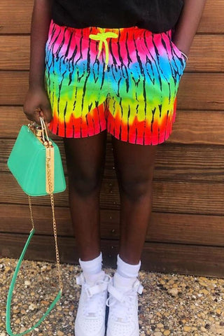 Rainbow Striped Drawstring Waist Shorts, whatwears  - buy with discount
