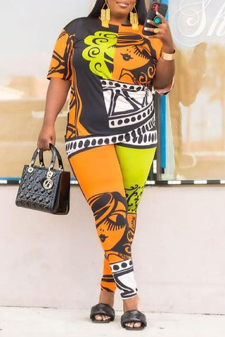 Character Printed Plus Size Two Piece Sets