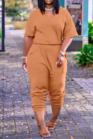 Solid Color V-Neck Short Sleeve Top & Pants, whatwears  - buy with discount