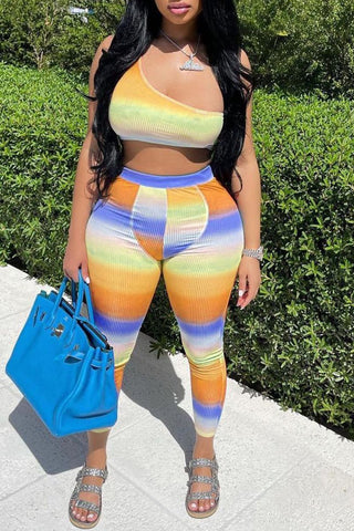 Color Splicing One Shoulder Two Piece Sets, whatwears  - buy with discount