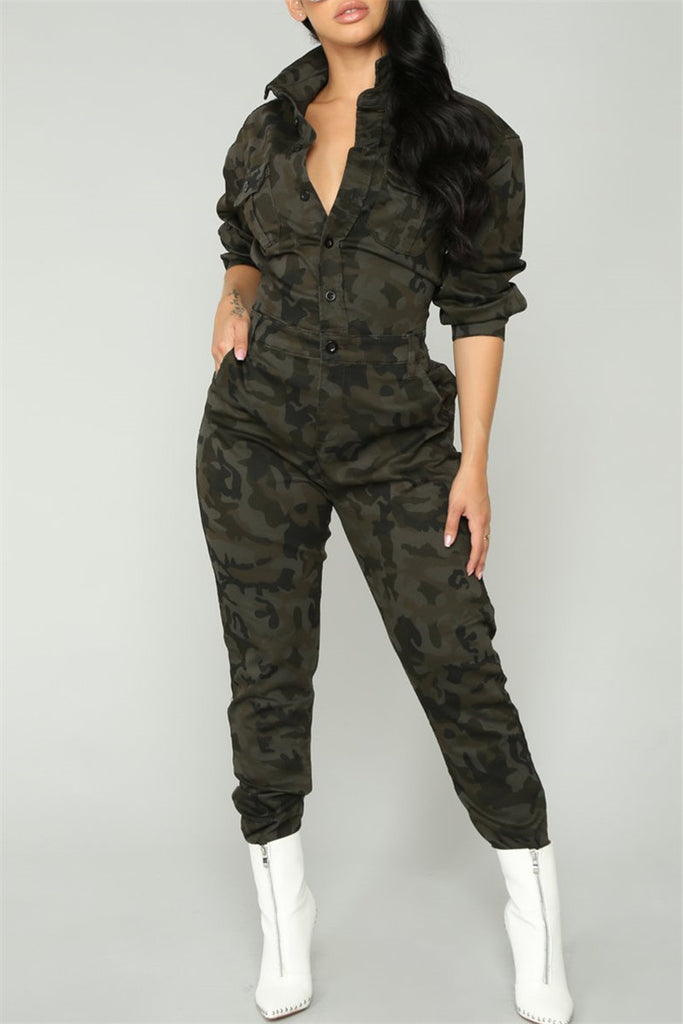 Camouflage Print Button Up Long Sleeve Casual Jumpsuit - WHATWEARS