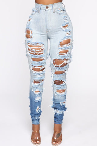 Denim Gradient Color Hole Distressed Jeans, whatwears  - buy with discount