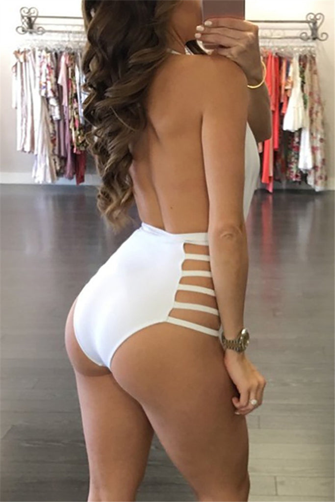 Deep V Side Cut Out Swimsuit - WHATWEARS