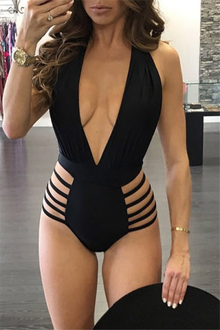 Flare Sleeve Sequined V-Neck One Piece Swimwear