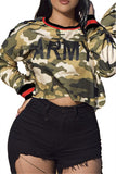 Letter Print Long Sleeve Camouflage Top