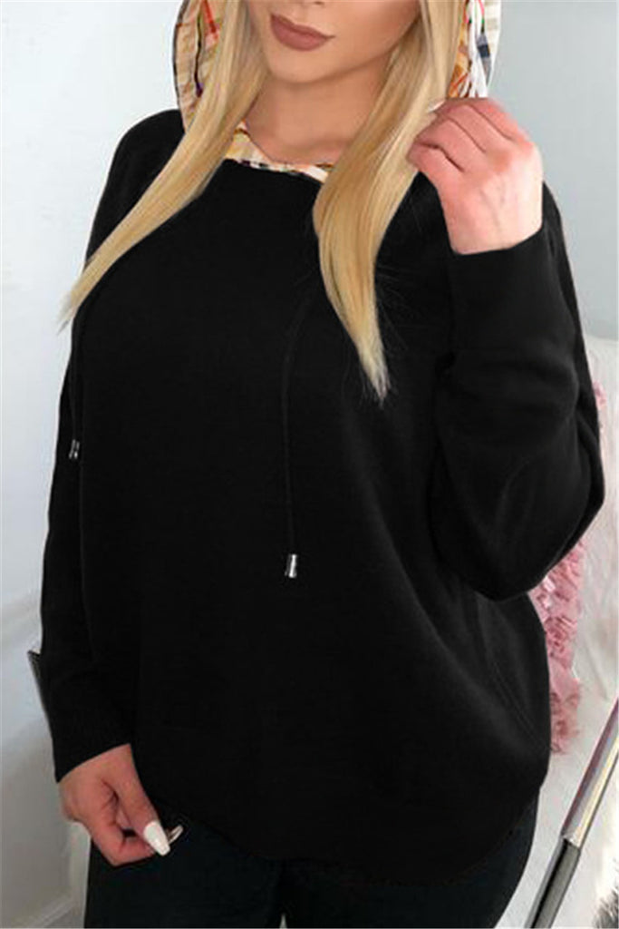 Patchwork Hooded Collar Long Sleeve Sweatshirt