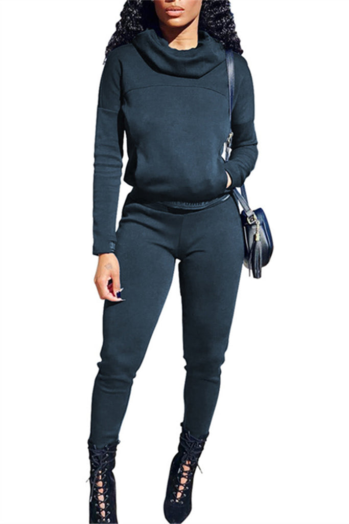 Cowl Neck Solid Color Fleece Casual Two Piece Outfits