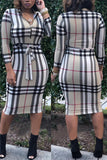 Quarter Zip Long Sleeve Plaid Midi Dress Without Belt