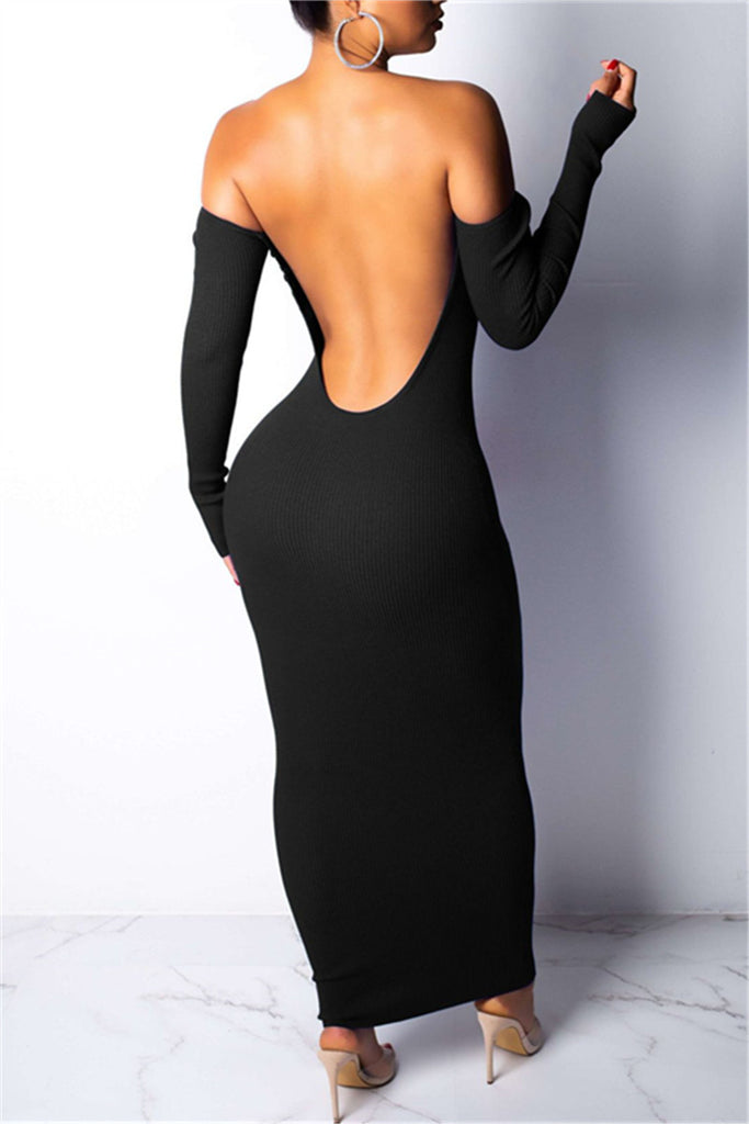 Off the Shoulder V Back Long Sleeve Maxi Dress