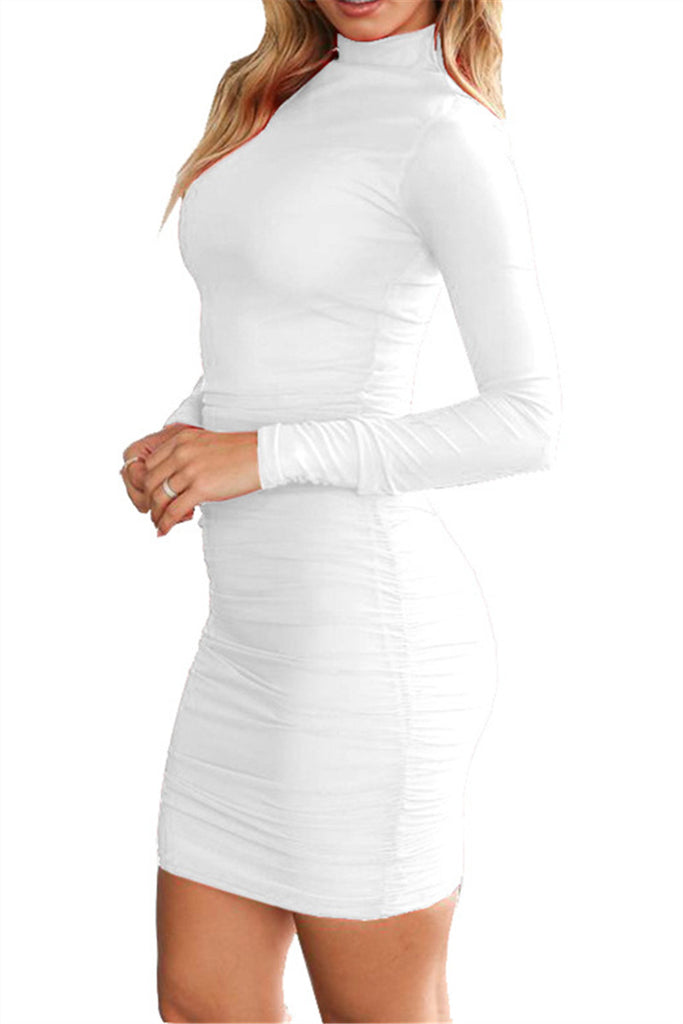 High Neck Long Sleeve Ruched Mini Dress