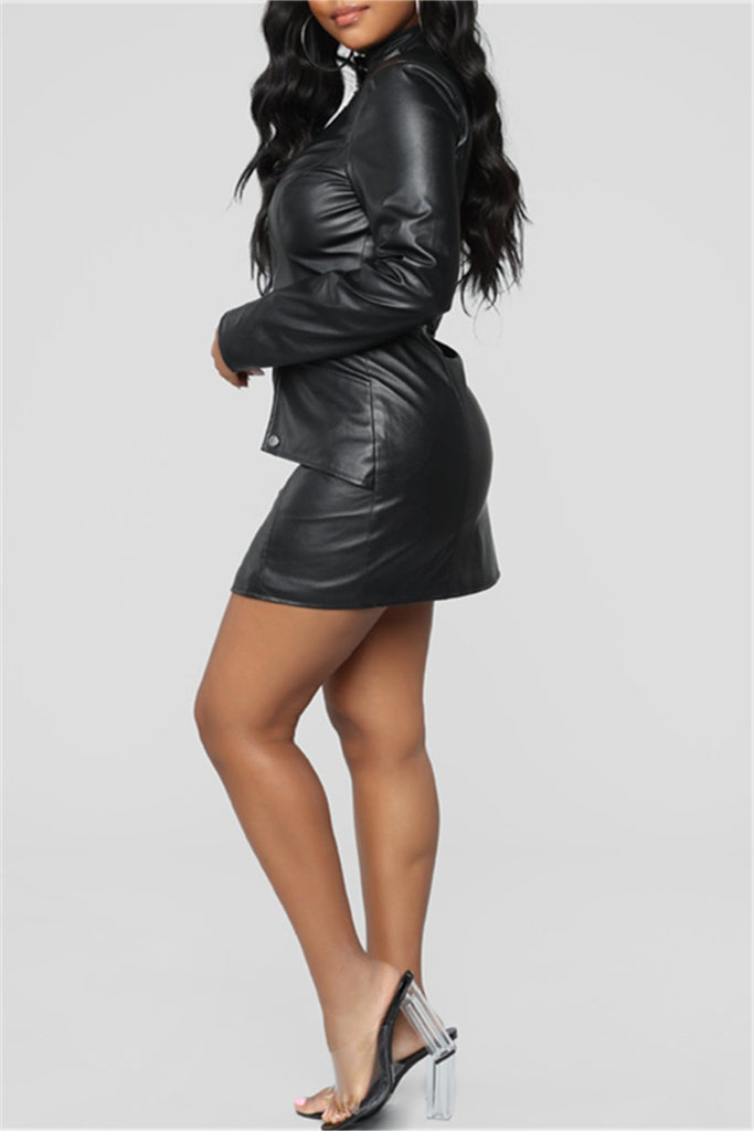Zip Up Long Sleeve Pocket Belted PU Leather Dress