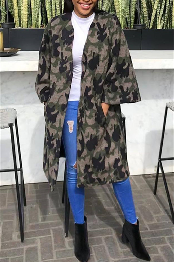 Camouflage Print Long Sleeve Pocket Casual Coat