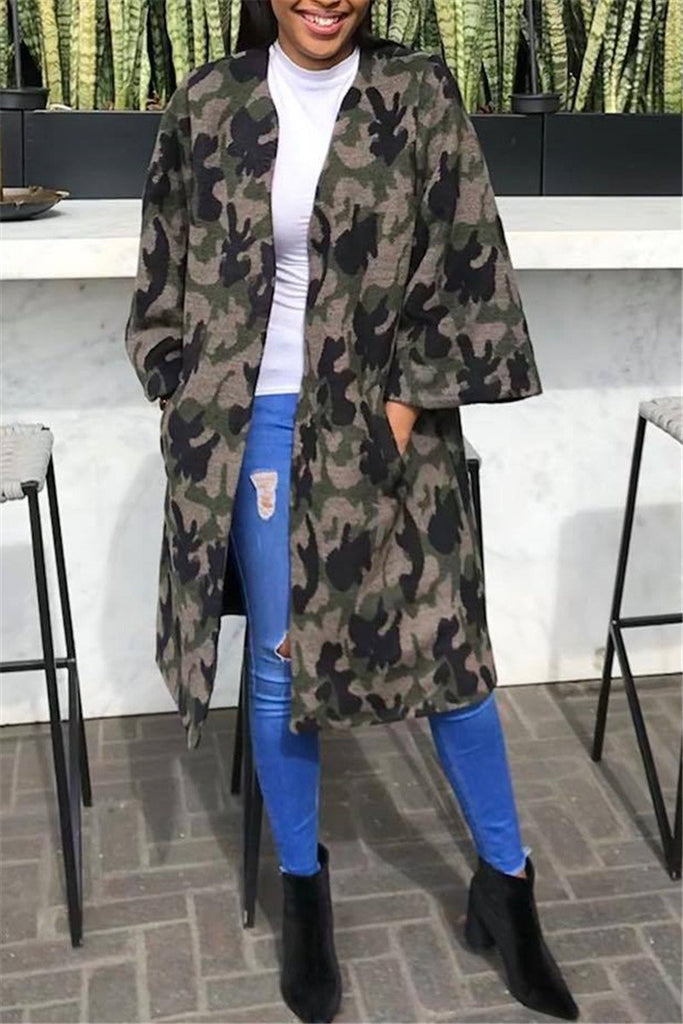 Camouflage Print Long Sleeve Pocket Coat