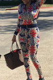 Zip Up Long Sleeve Printed Casual Two Piece Outfits