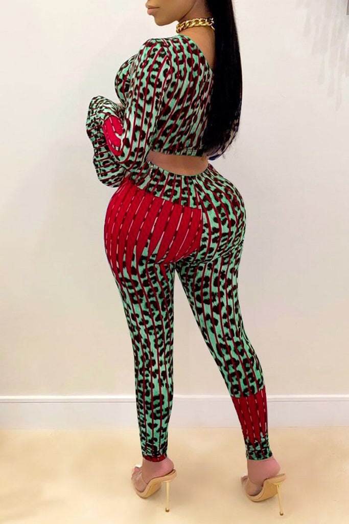 Plus Size One Sleeve Leopard Patchwork Two Piece Sets
