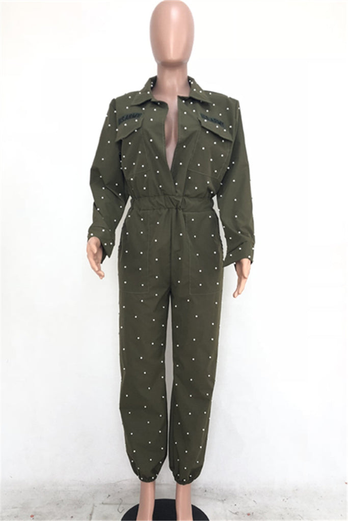 Faux Pearl Long Sleeve Pocket Casual Jumpsuit Without Belt