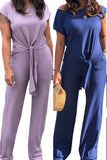 Tie Up Short Sleeve Solid Color Pocket Two Piece Outfits
