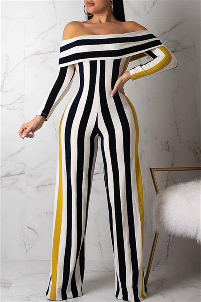 4927fa4c00c1 Off the Shoulder Long Sleeve Striped Casual Jumpsuit – WHATWEARS