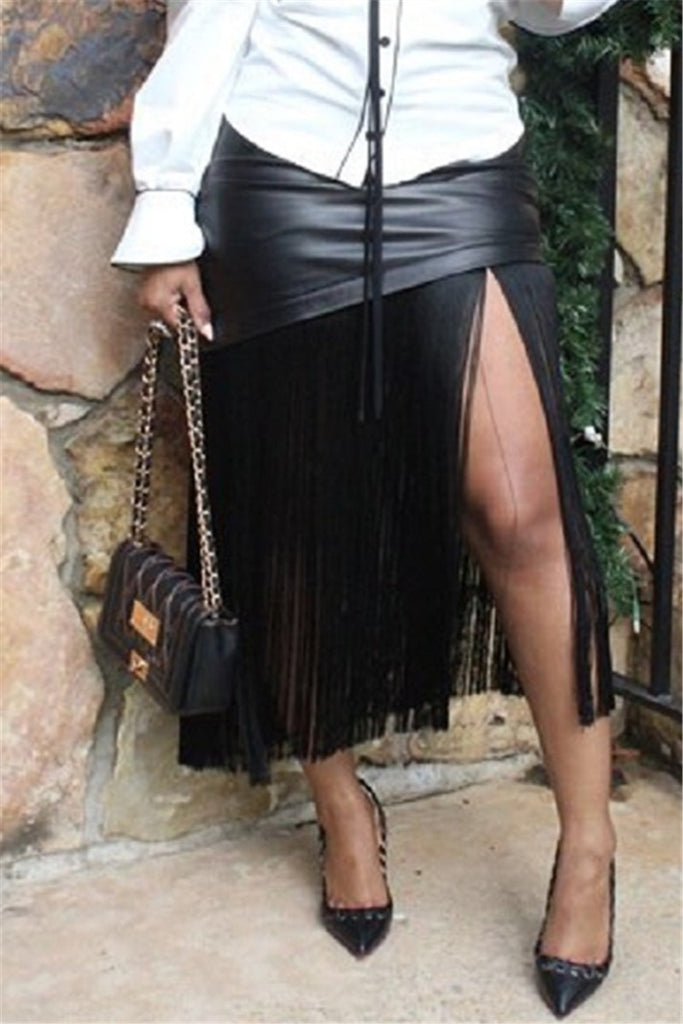 Tassels Hem High Waist Black PU Leather Skirt