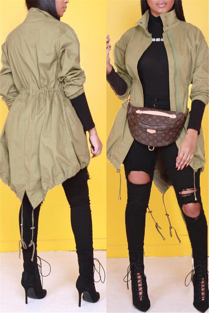 Asymmetric Hem Zip Up Long Sleeve Drawstring Casual Coat