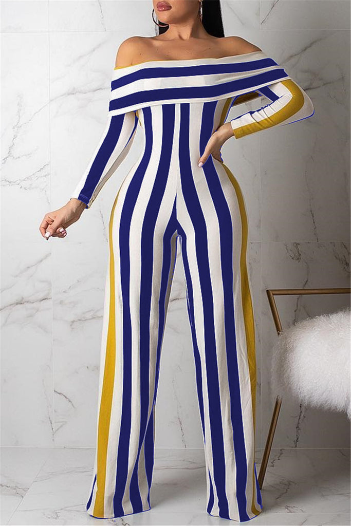 Off the Shoulder Long Sleeve Striped Casual Jumpsuit