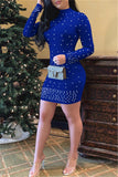Long Sleeve Faux Pearl Decor Mini Dress