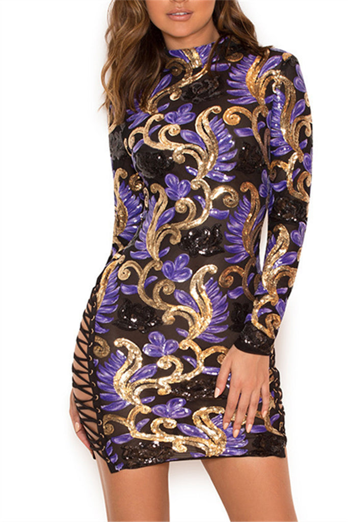 Baroque Pattern Long Sleeve Sequined Mini Dress